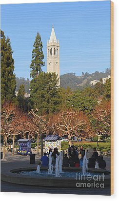 Uc Berkeley . Sproul Plaza . Sather Gate . 7d9998 Wood Print by Wingsdomain Art and Photography