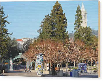 Uc Berkeley . Sproul Plaza . Sather Gate And Campanile Tower . 7d9996 Wood Print by Wingsdomain Art and Photography