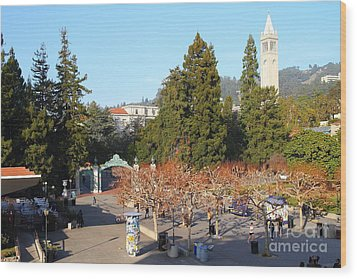 Uc Berkeley . Sproul Plaza . Sather Gate And Sather Tower Campanile . 7d10000 Wood Print by Wingsdomain Art and Photography