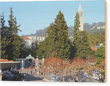Uc Berkeley . Sproul Plaza . Sather Gate And Sather Tower Campanile . 7d10015 Wood Print by Wingsdomain Art and Photography