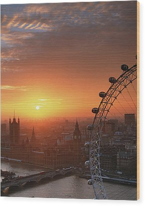 Uk, London, Millennium Wheel And Cityscape, Sunset, Elevated View Wood Print by Travelpix Ltd