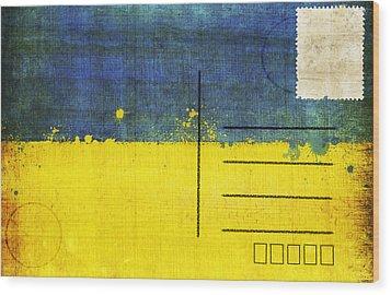 Ukraine Flag Postcard Wood Print by Setsiri Silapasuwanchai