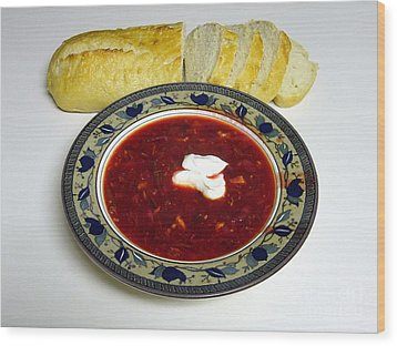 Ukrainian Borsch With Sour Cream Wood Print by Jim Sauchyn