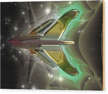 Wood Print featuring the digital art Ultra Fractal F-40 by Mario Carini