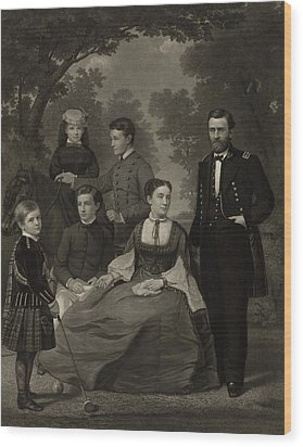 Ulysses S. Grant With His Family When Wood Print by Everett
