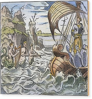 Ulysses, Tied To The Mast Wood Print by Granger