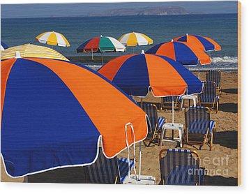 Umbrellas Of Crete Wood Print by Bob Christopher