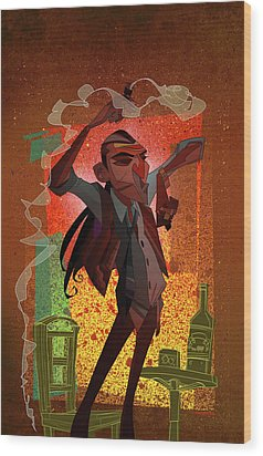 Un Hombre Wood Print by Nelson Dedos Garcia
