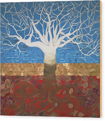 Un Rooted Leaving All Wood Print by Claudia French