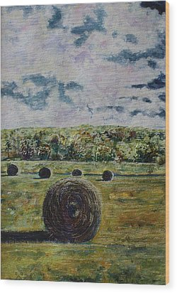 Wood Print featuring the painting Uncertain Skies by Patsy Sharpe
