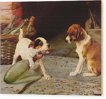 Uncorking The Bottle Wood Print by William Henry Hamilton Trood