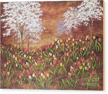 Wood Print featuring the painting Under The Dogwoods by Vic  Mastis
