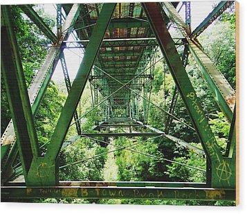 Under The Green Bridge Wood Print