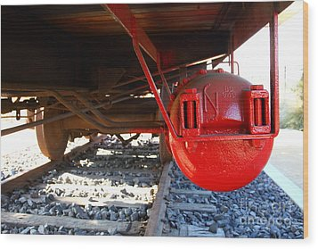 Under The Old Western Pacific Caboose Train . 7d10722 Wood Print by Wingsdomain Art and Photography