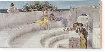 Under The Roof Of Blue Ionian Weather Wood Print by Sir Lawrence Alma-Tadema