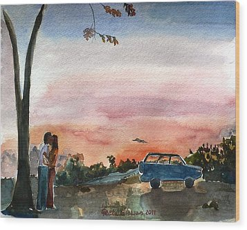 Wood Print featuring the painting Under The Setting Sun by Geeta Biswas