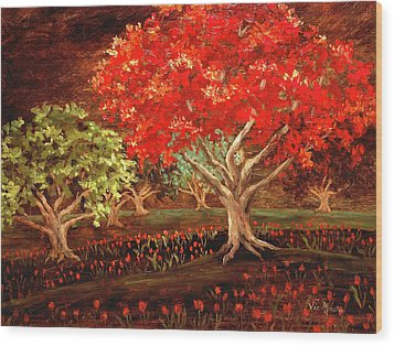 Wood Print featuring the painting Under The Trees by Vic  Mastis