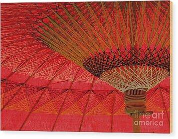 Under The Umbrella Wood Print by Nola Lee Kelsey