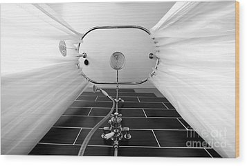 Underneath An Old Style Shower Wood Print by Simon Bratt Photography LRPS