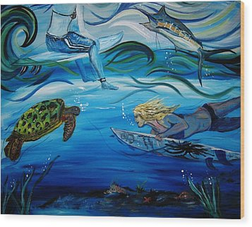 Wood Print featuring the painting Underwater Surfers by Amanda Dinan