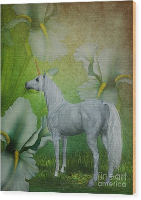 Unicorn And Lilies Wood Print by Smilin Eyes  Treasures