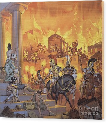 Unidentified Roman Attack Wood Print by Angus McBride
