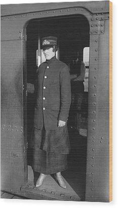 Uniformed Woman Brooklyn Subway Guard Wood Print by Everett