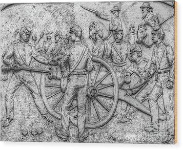 Union Artillery Civil War Drawing Wood Print by Randy Steele