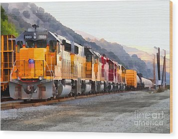 Union Pacific Locomotives Along The Hills Of Martinez California . 7d10563 Wood Print by Wingsdomain Art and Photography