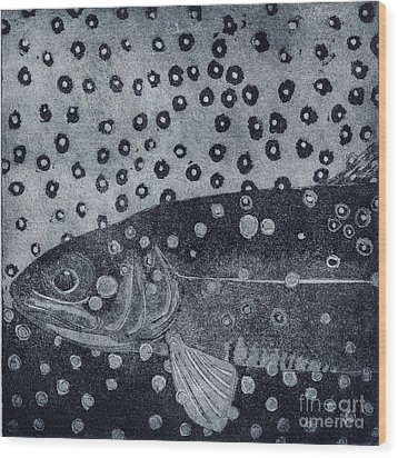 Unique Etching Artwork - Brown Trout  - Trout Waters - Trout Brook - Engraving Wood Print