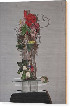 Unique Glass Floral Art Piece Wood Print by HollyWood Creation By linda zanini