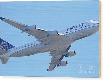 United Airlines Boeing 747 . 7d7838 Wood Print by Wingsdomain Art and Photography