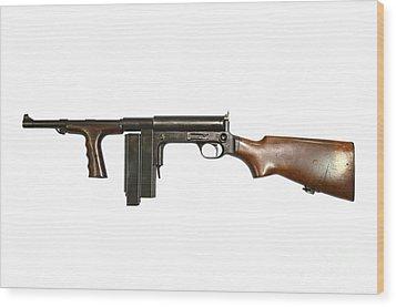 United Defense M42 Submachine Gun Wood Print by Andrew Chittock