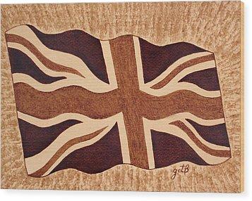 United Kingdom Flag Coffee Painting Wood Print by Georgeta  Blanaru