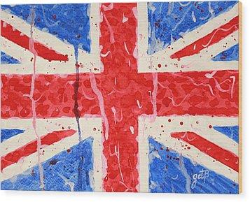 United Kingdom Flag Watercolor Painting Wood Print by Georgeta  Blanaru