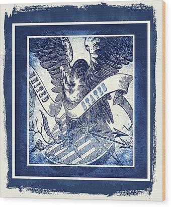 United States Blue Wood Print by Angelina Vick