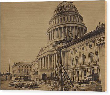 United States Capitol Building In 1863 Wood Print by Everett
