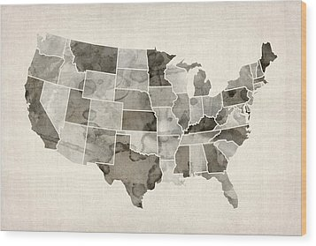 United States Watercolor Map Wood Print by Michael Tompsett