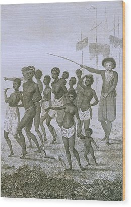 Unloading Of Enslaved Africans In Dutch Wood Print by Everett