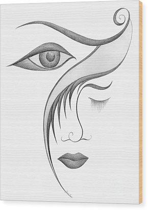 Unnamed Sketch 03 Wood Print by Joanna Pregon