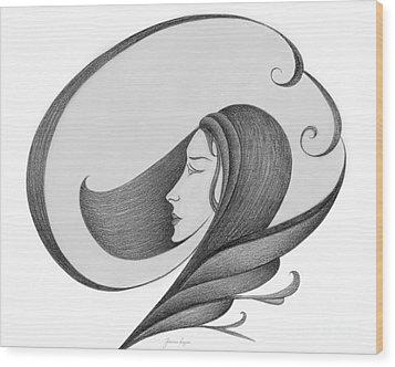 Unnamed Sketch 04 Wood Print by Joanna Pregon
