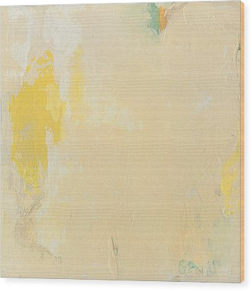 Untitled Abstract - Bisque With Yellow Wood Print