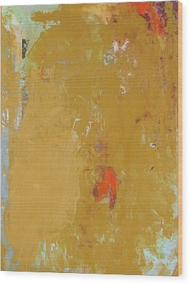 Untitled Abstract - Ochre Cinnabar Wood Print