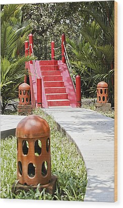Up Garden Path Over Red Bridge Wood Print by Kantilal Patel