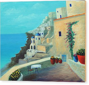 Up High On The Mediterranean Wood Print by Larry Cirigliano
