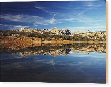 Upper Blue Lake Mirror 3 Wood Print by Michael Courtney