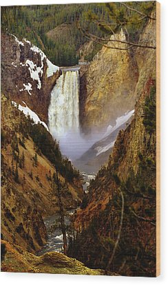 Upper Yellowstone Falls Wood Print by Ellen Heaverlo