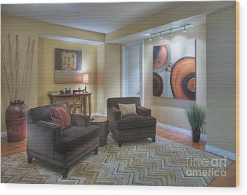 Upscale Living Room Interior Wood Print by Andersen Ross