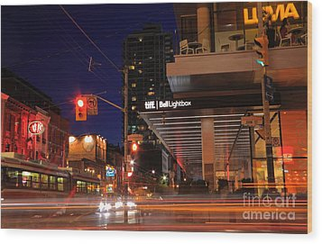 Urban Nightlife Wood Print by Charline Xia