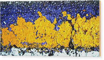 Urban Yellow Trees Wood Print